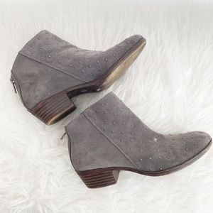 Lucky Brand Studded Suede Ankle Booties Grey 7M